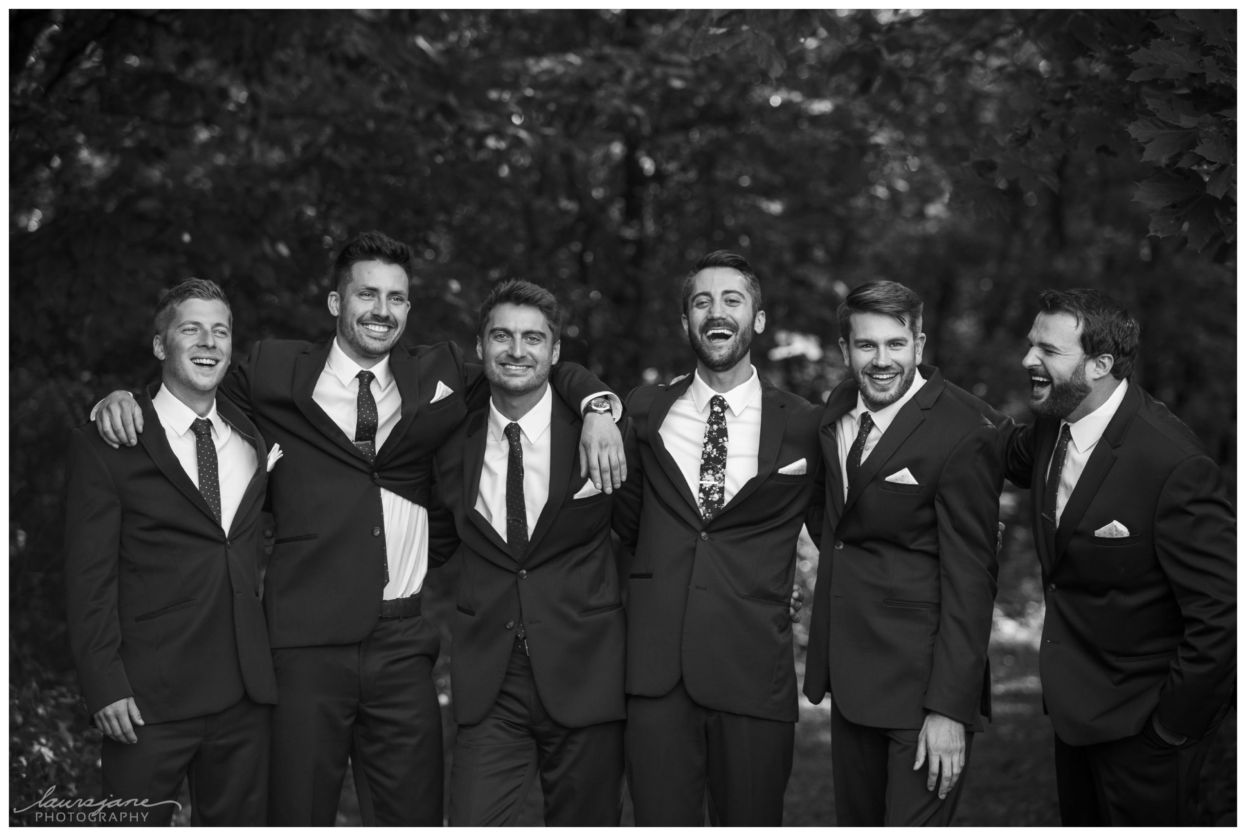 Groom & Groomsmen Portrait at Glacier Hills County Park
