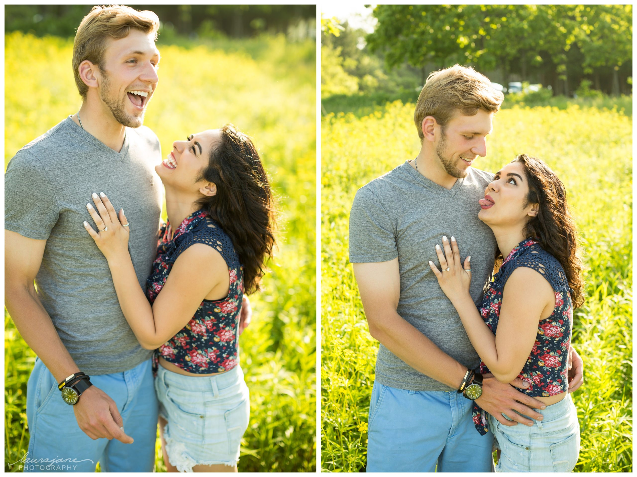 Lighthearted engagement photos in Waukesha