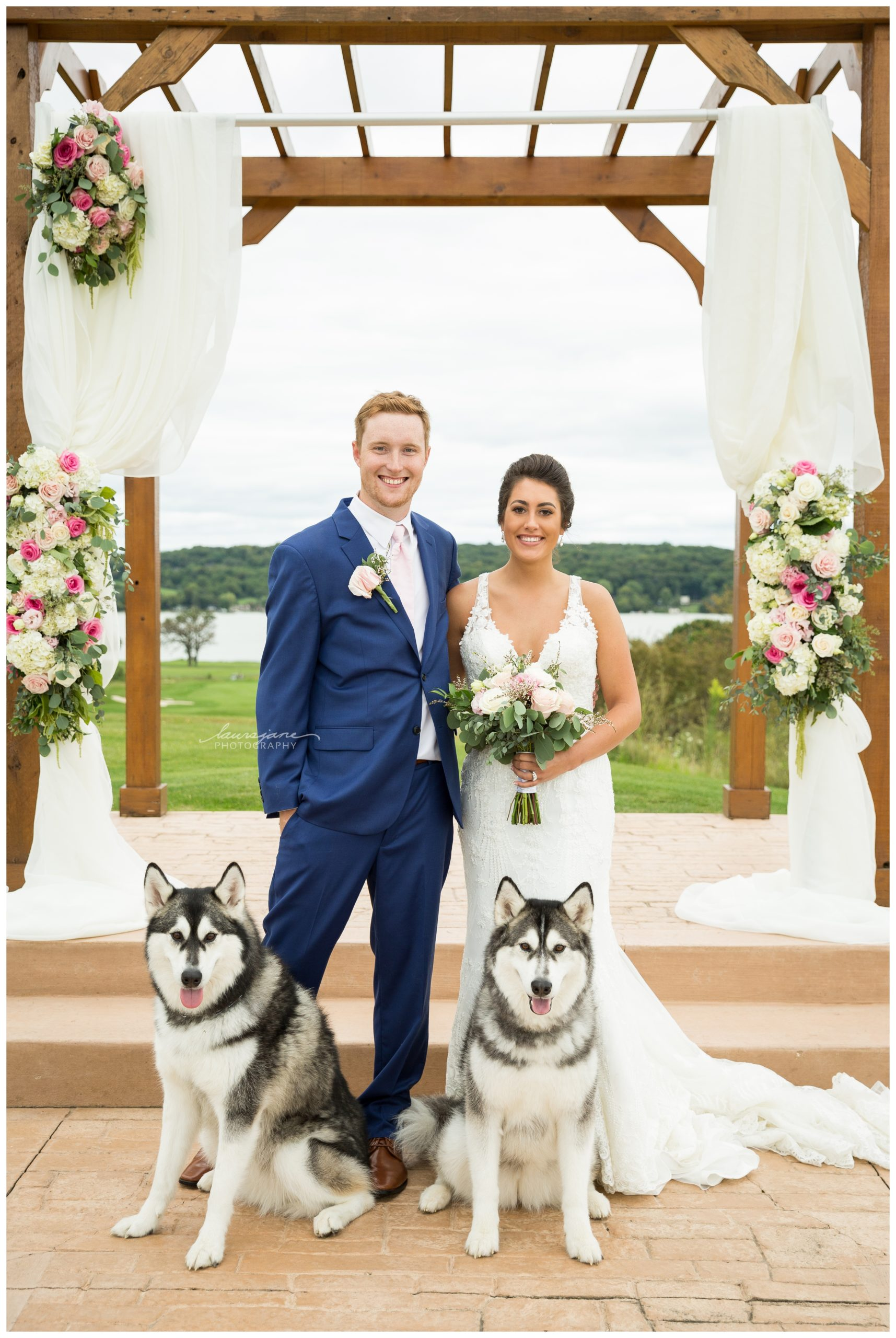 Wedding Portrait of Bride & Groom with their Pets